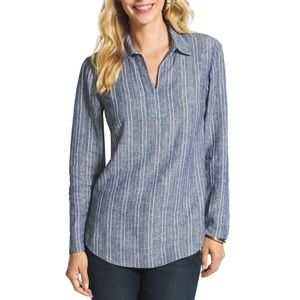 Chicos Chambray Linen Shimmer Stripe Tunic